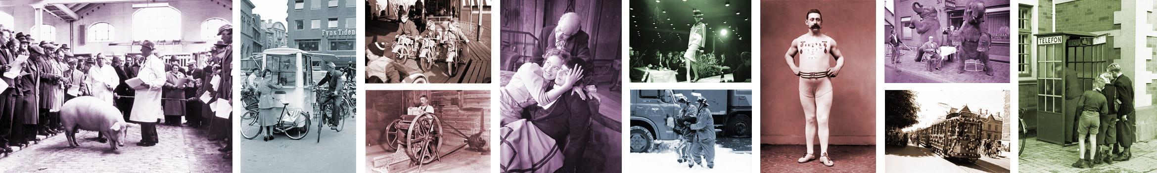 Collage af billeder fra Historiens Hus' billedsamling