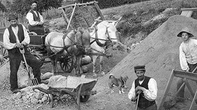 Arbejde i grusgrav ved Spedbjerg ca. 1910