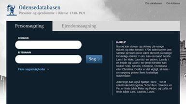Odensedatabasens forside